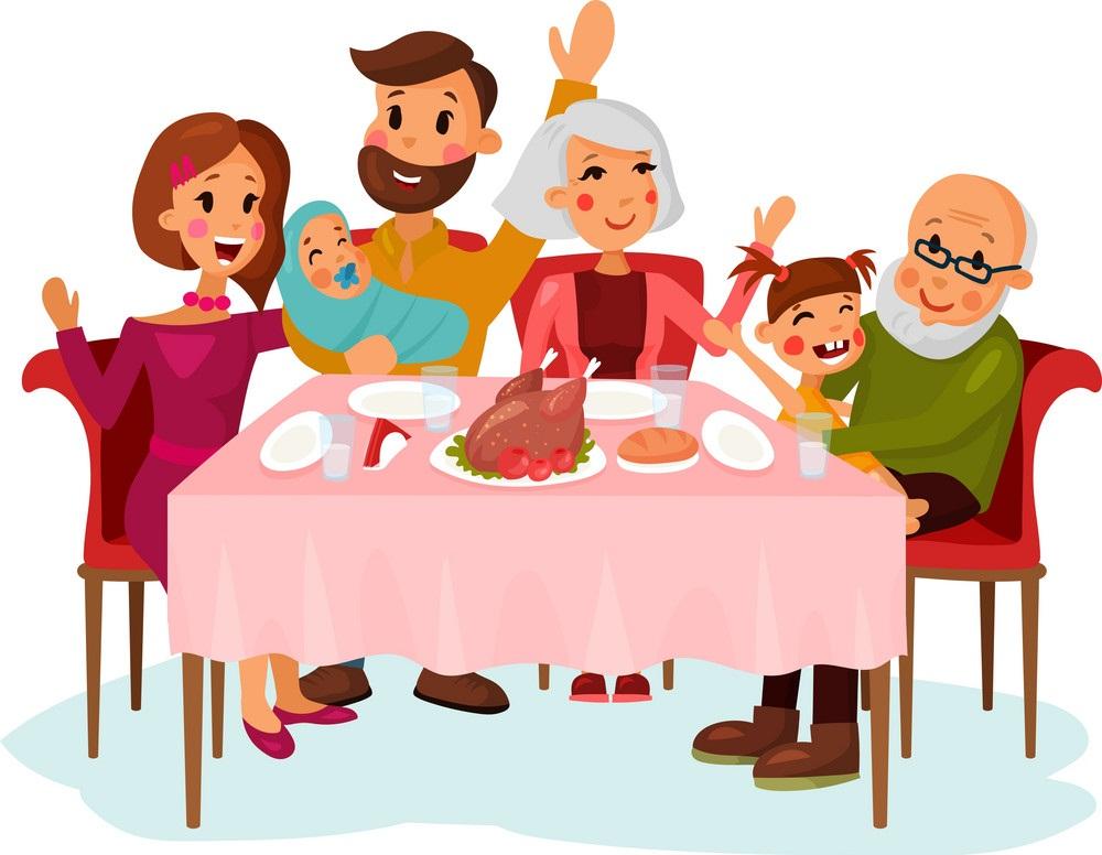 family on thanksgiving dinner