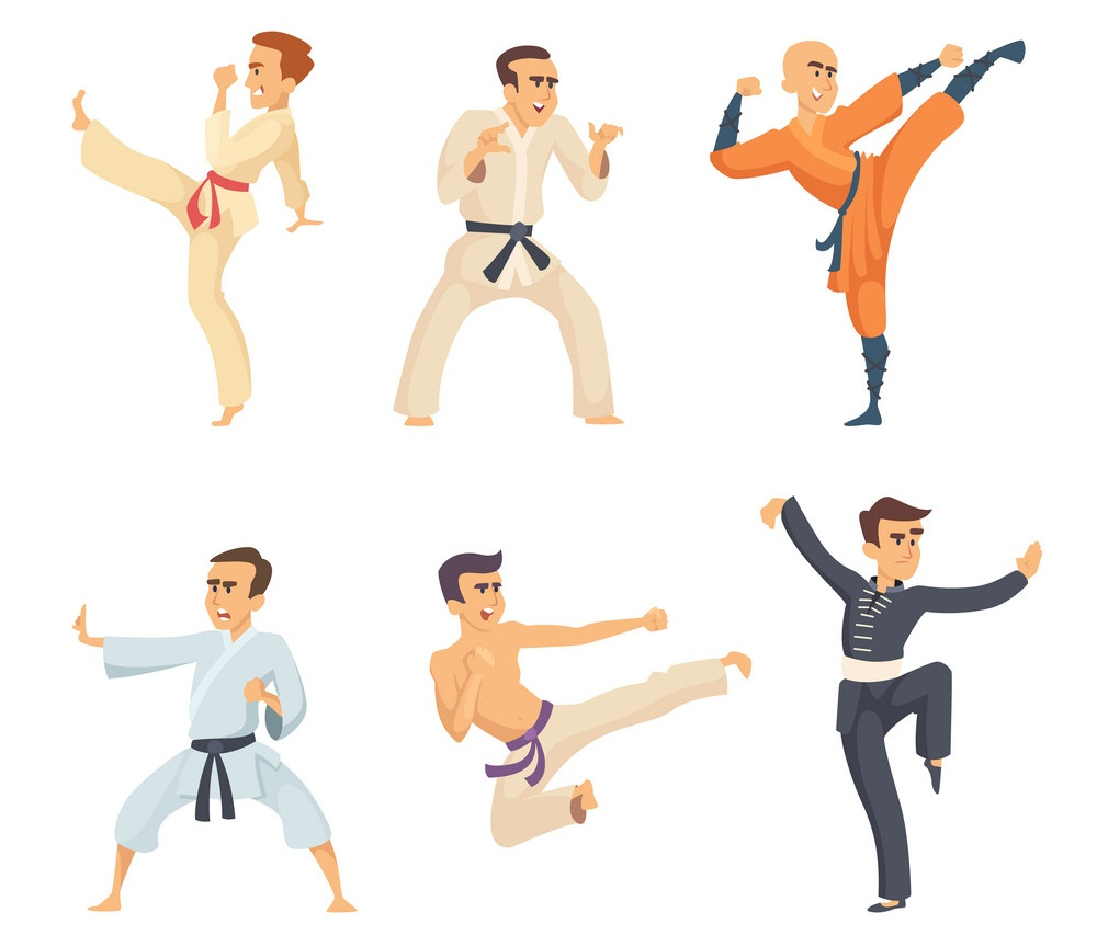 Sport fighters in action poses. Cartoon characters isolate on white background