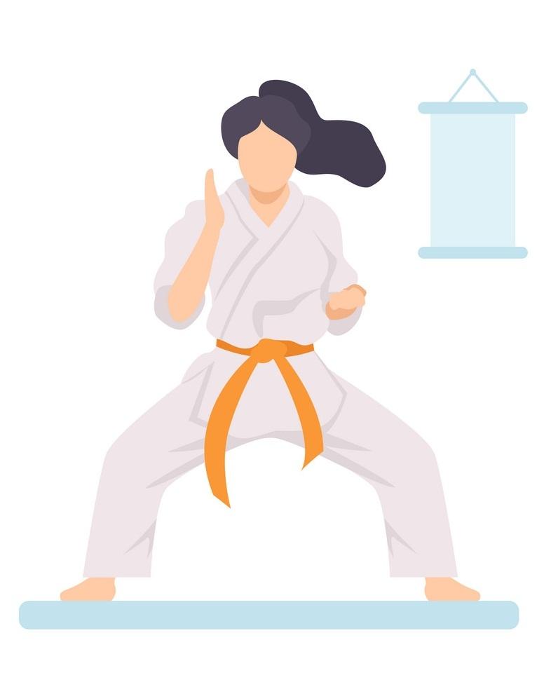 fighting pose karate girl