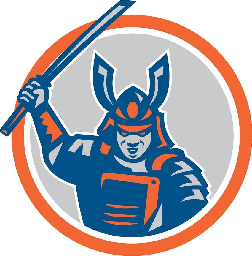 fighting pose samurai logo
