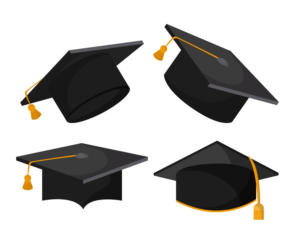 four graduation caps with yellow tassels