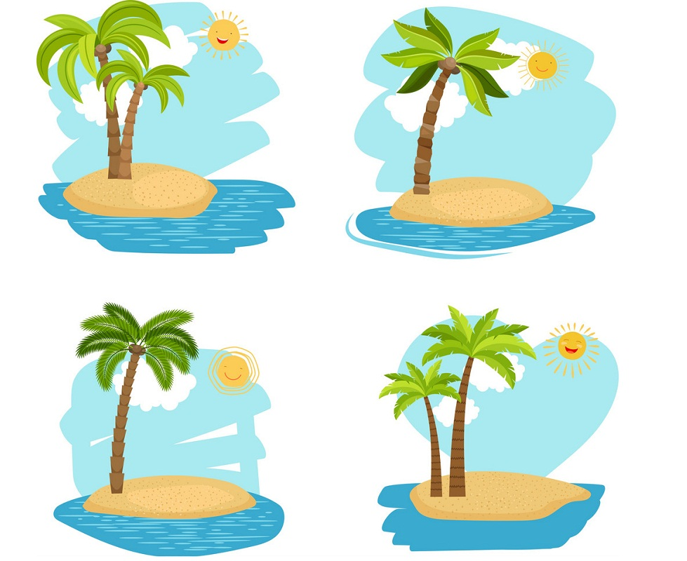four holiday coconut palm trees islands