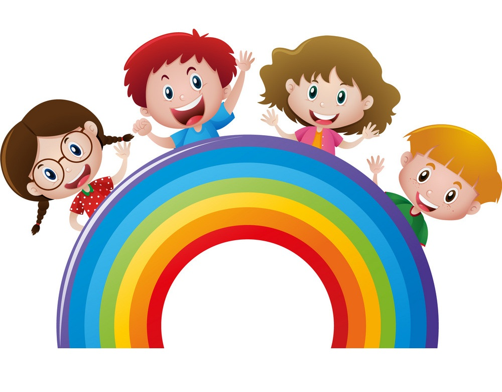 four kids with rainbow