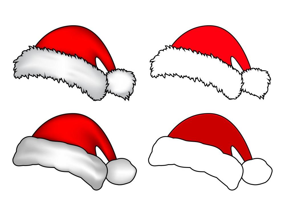 four santa hats