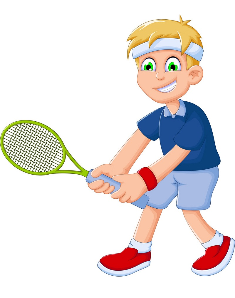 funny boy playing tennis
