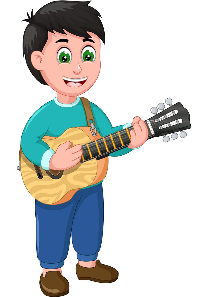funny boy wearing blue shirt with acoustic guitar