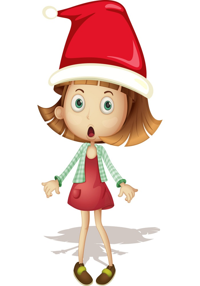 girl wearing santa hat