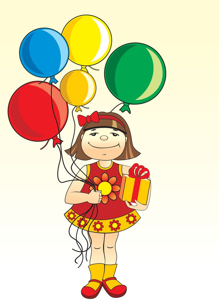 girl with balloons and gift