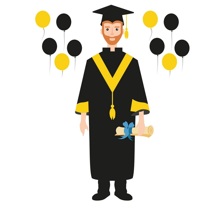 graduated man with balloons