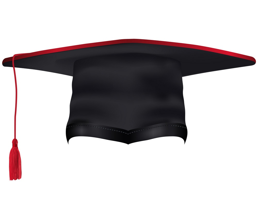 graduation cap with red tassel