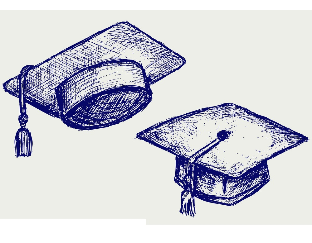 graduation caps hand drawn