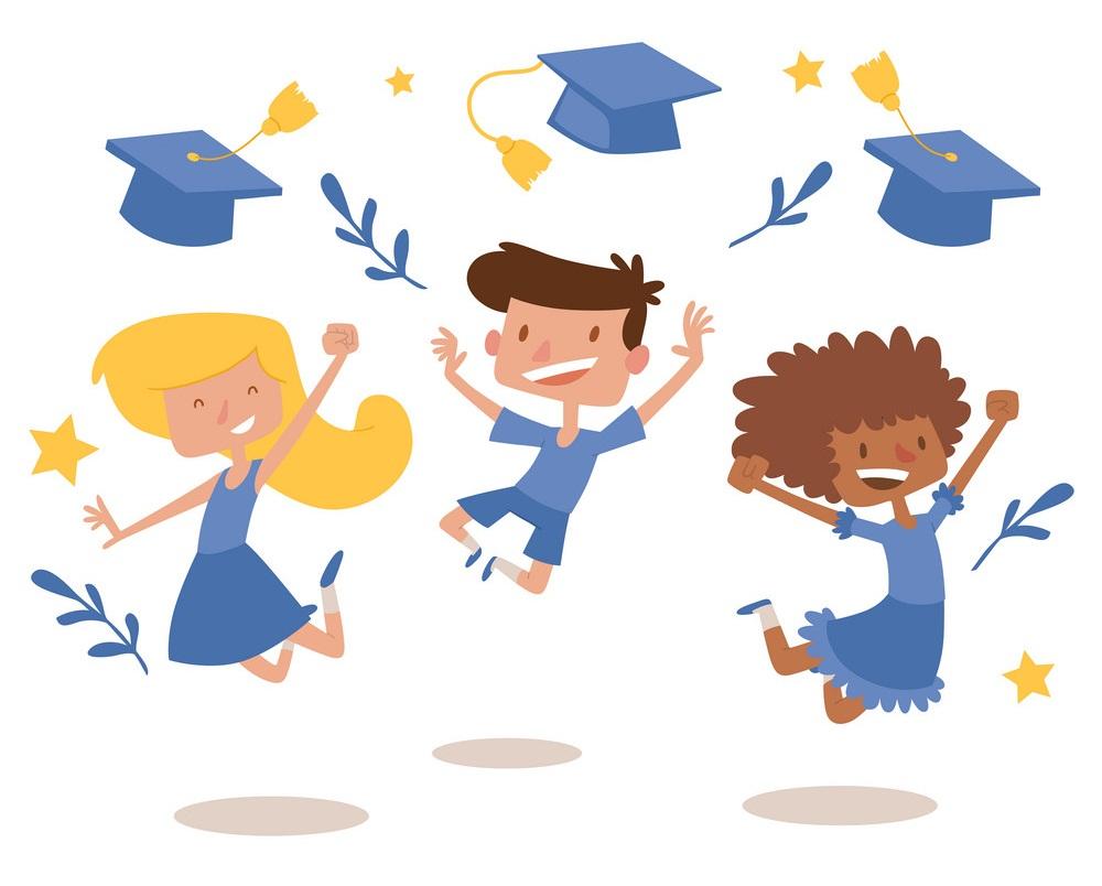 graduation kids celebration with joy banner