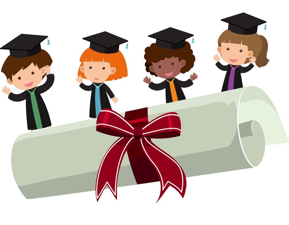 graduation kids with big roll diploma