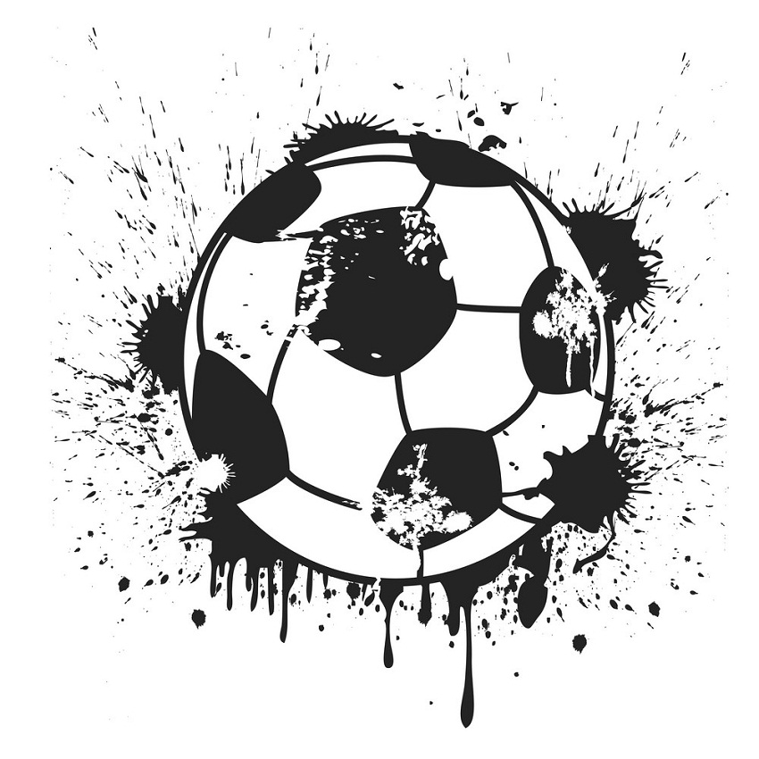 grungy black soccer ball