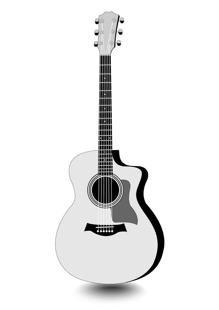 guitar isolated monochrome drawing with shadow
