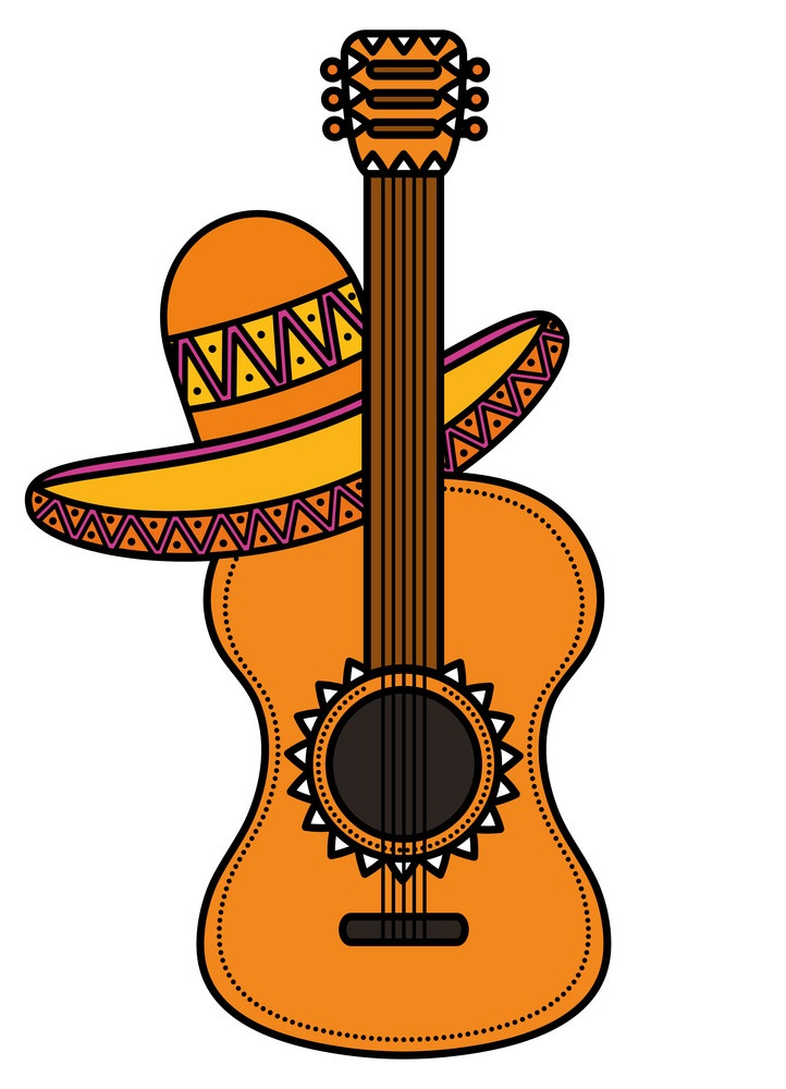 guitar with mexican hat