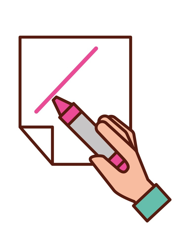 hand holding pink crayon