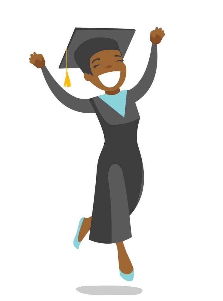 happy african american girl graduate