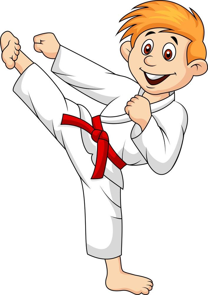 happy karate boy fighting pose