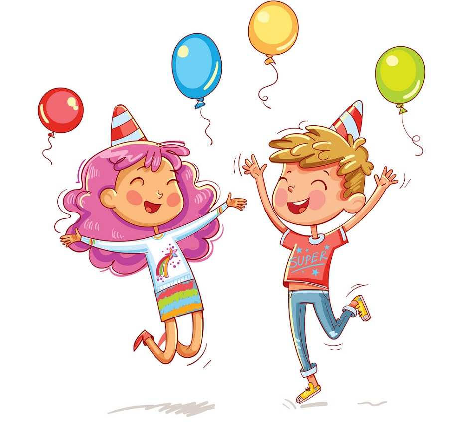 happy kids with birthday balloons