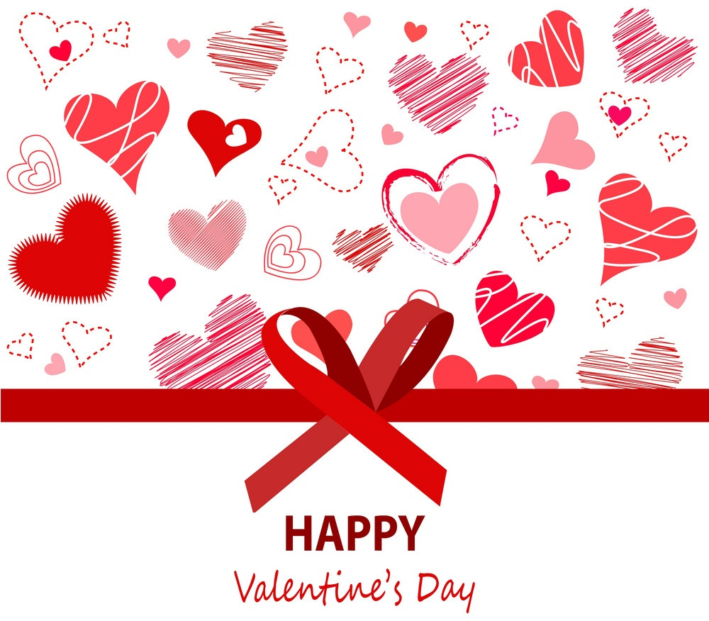 happy valentines day card with lots of heart shape