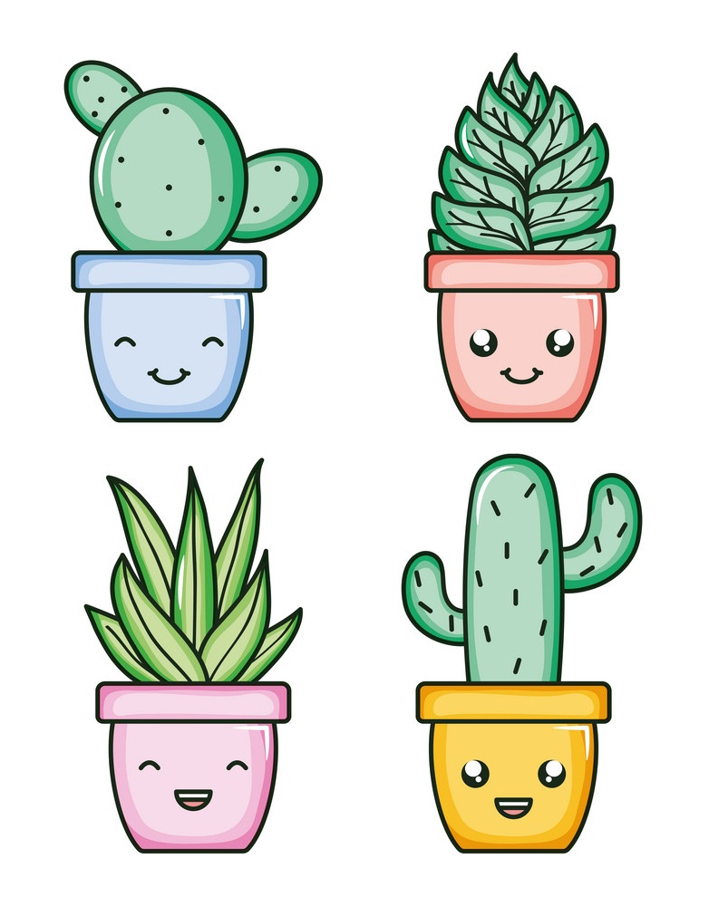 house plants and cactus kawaii comic characters