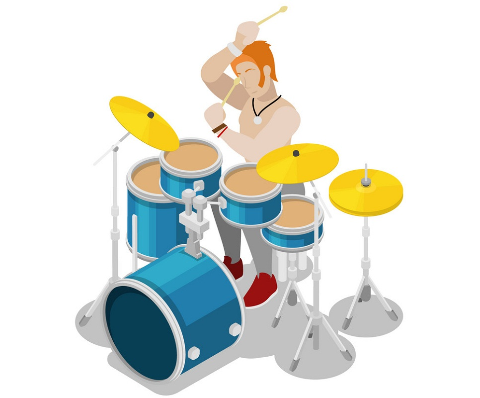 isometric rock drummer playing on drums