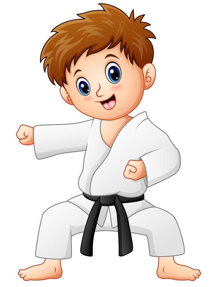 karate black belt boy fighting pose