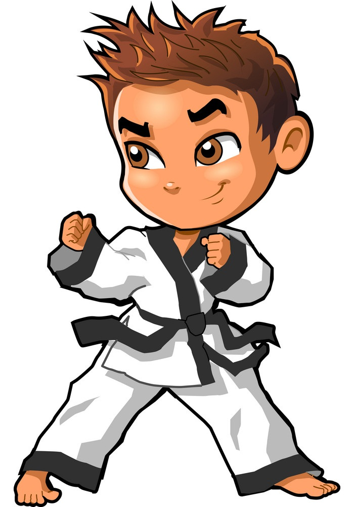 Karate martial arts tae kwon do dojo vector clipart cartoon Boy