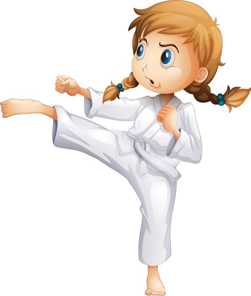 karate white belt girl fighting pose