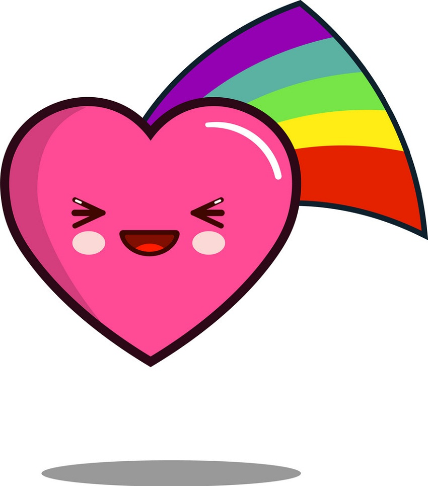 kawaii rainbow heart