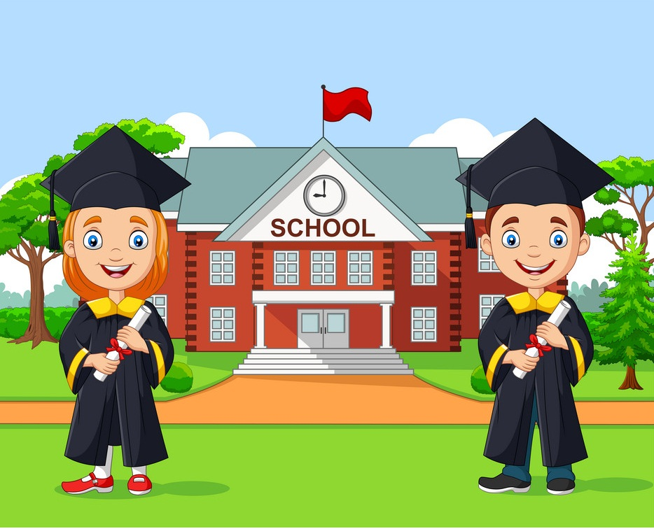 kids graduate in front school