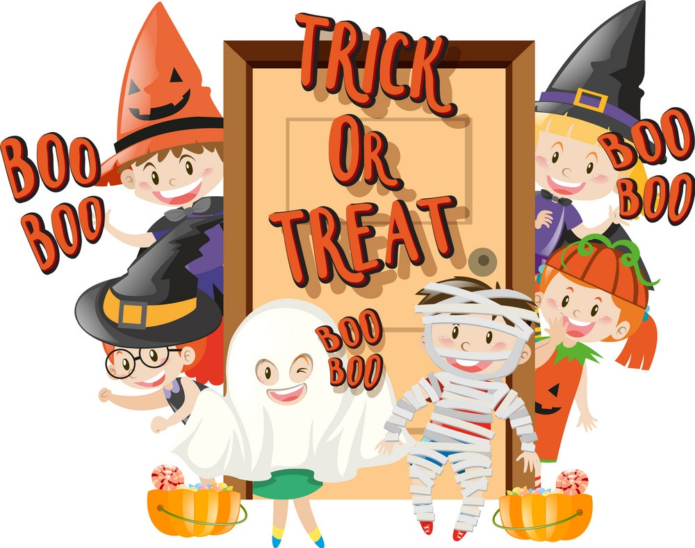 kids playing trick or treat