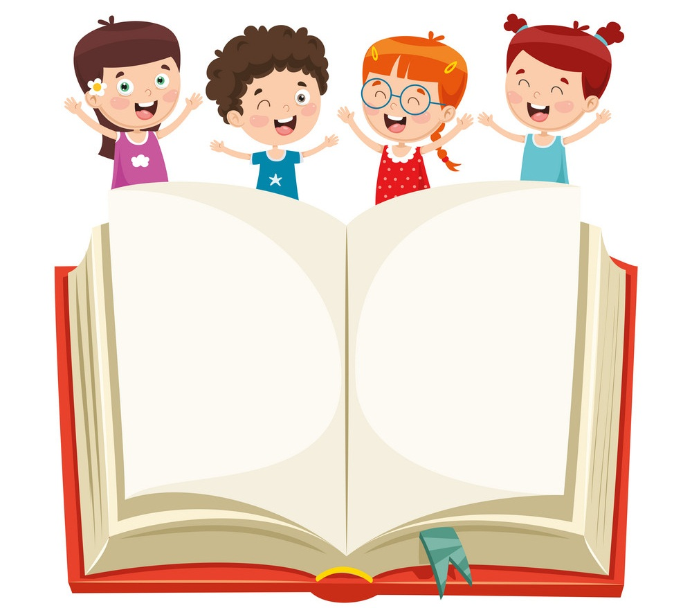 kids showing open book