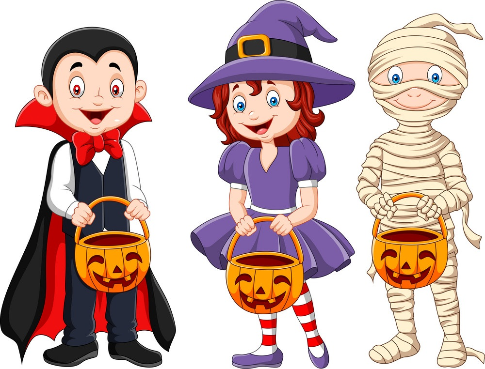 kids with halloween costume