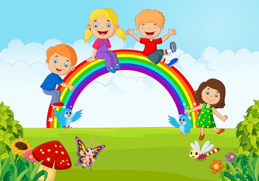 kids with rainbow