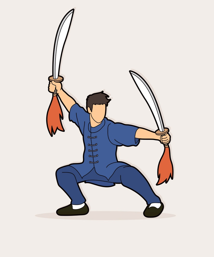 kung fu man with sword fighting pose