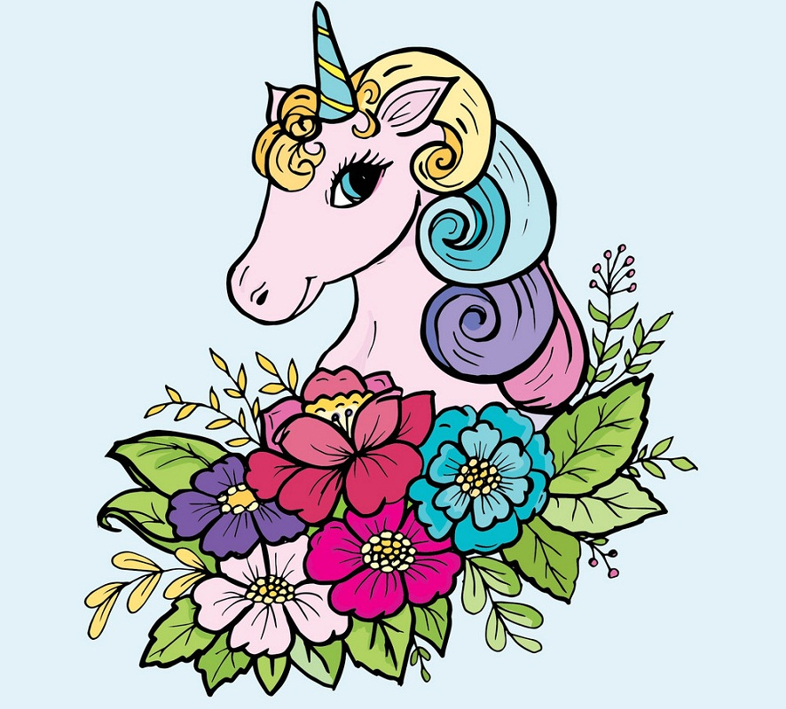 lady unicorn with flowers