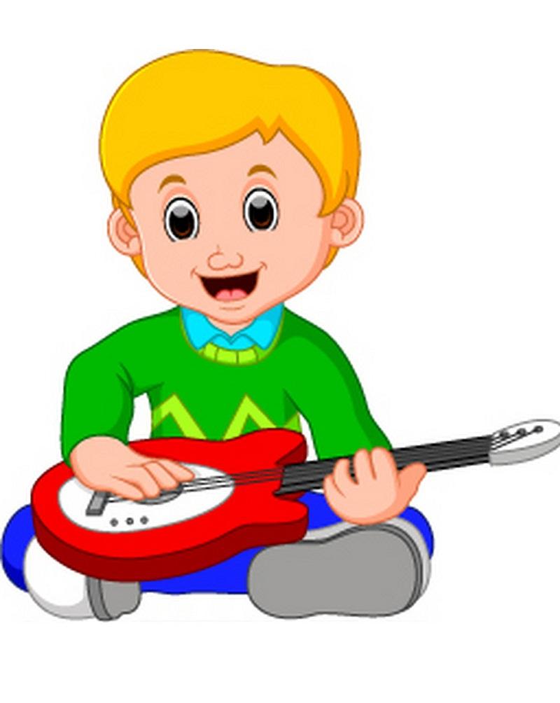 little boy cartoon playing guitar