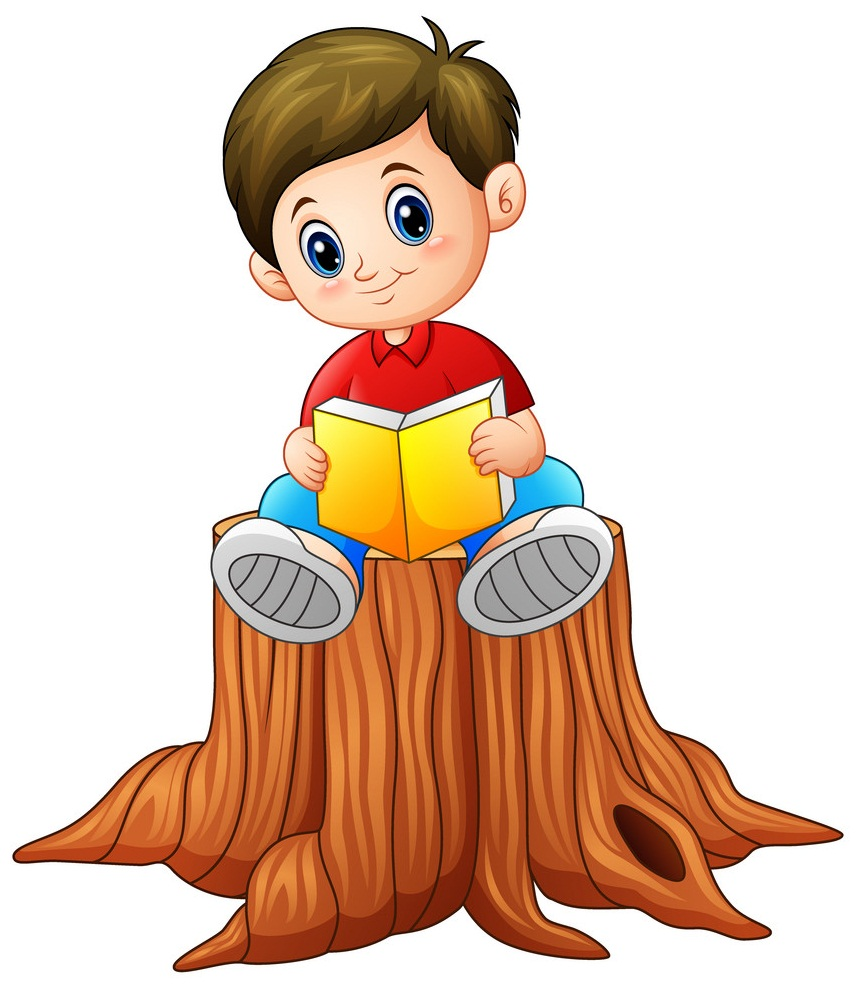 boy sitting on a tree reading a book