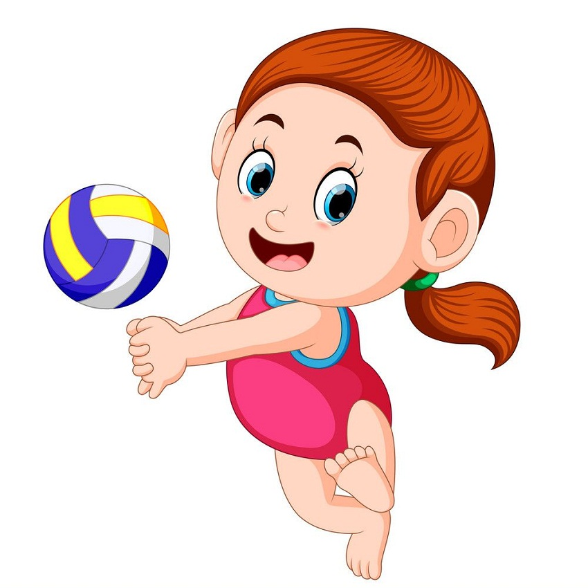 little girl playing volleyball