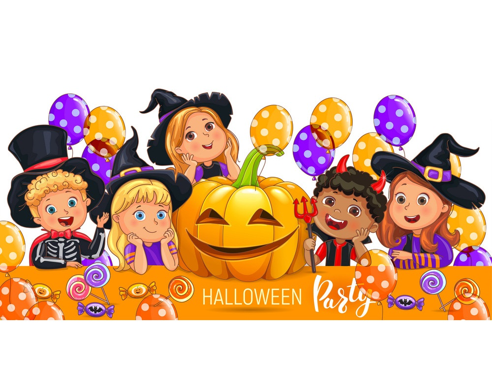little kids in halloween party
