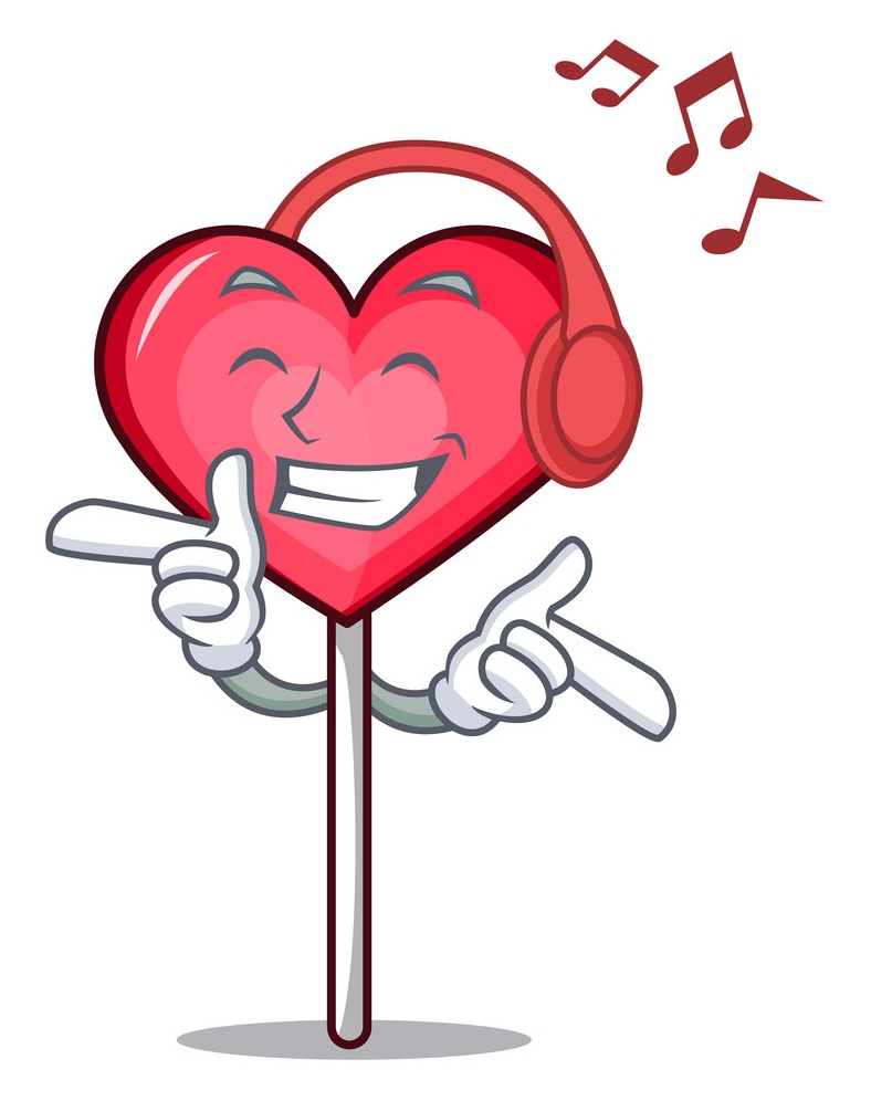 lollipop heart listening to music