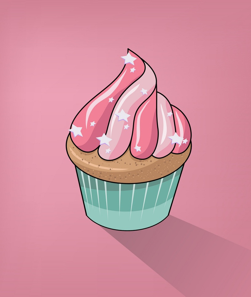 lovely cupcake on pink background