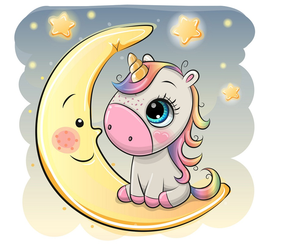 lovely unicorn and moon