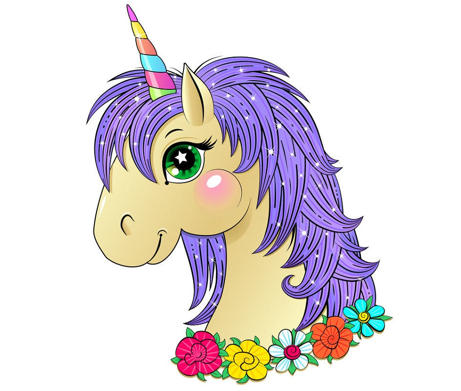 lovely unicorn with purple mane