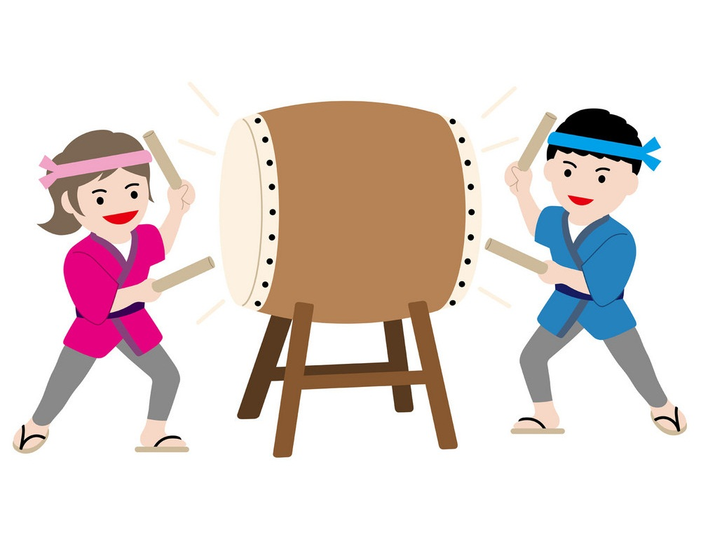 man and woman performing a japanese drum