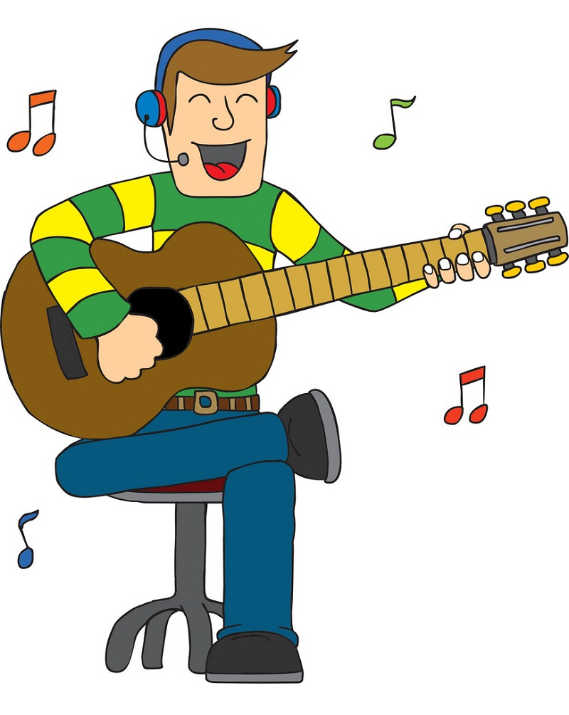 man singing with guitar