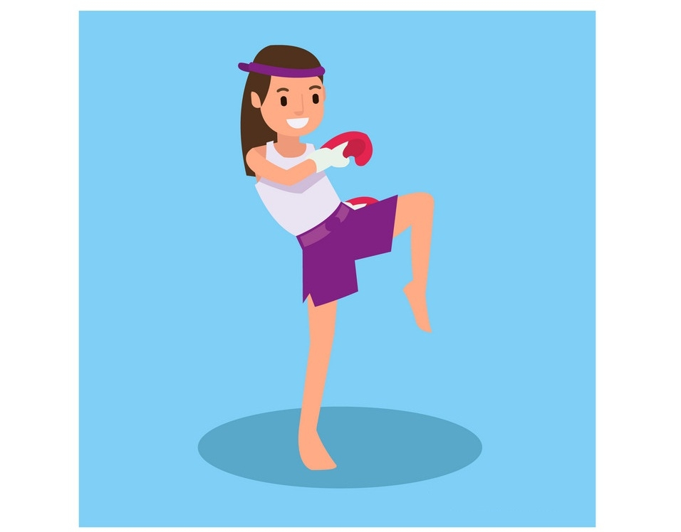 martial arts girl fighting pose