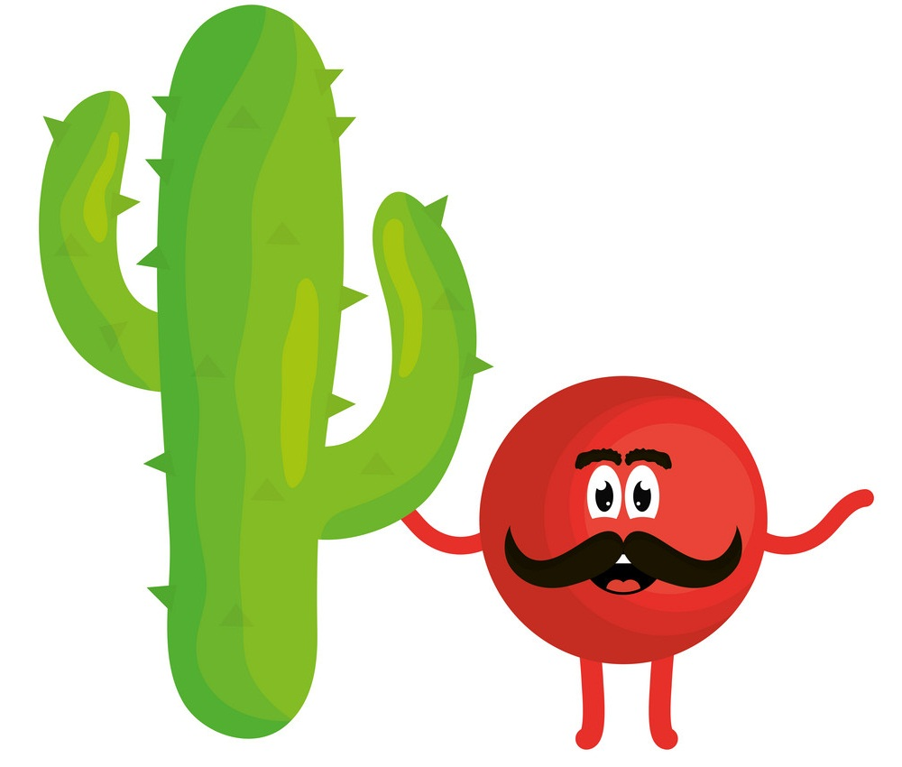 mexican emoji with cactus character
